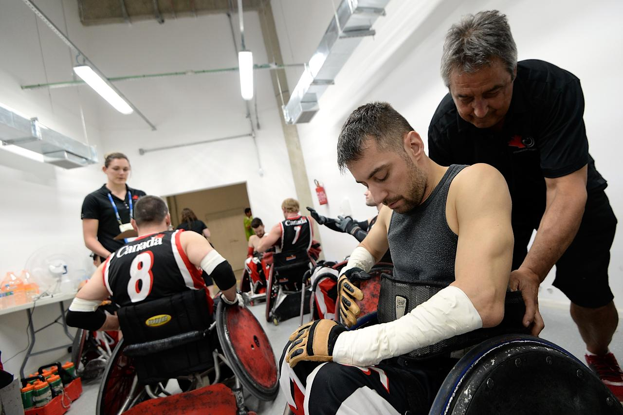RIO DE JANEIRO, BRAZIL - FEBRUARY 26:  Mechanical Bob Hirschfield prepares Patrice Simard of Canada before the match between Canada and Australia during the International Wheelchair Rugby Championship - Aquece Rio Test Event for the Rio 2016 Paralympics  at Olympic Park on February 26, 2016 in Rio de Janeiro, Brazil.  (Photo by Buda Mendes/Getty Images)
