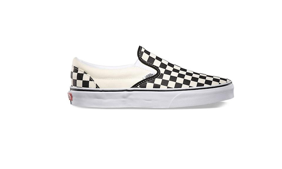 """<p>Vans was founded in 1966 in Anaheim, Calif. The brand is easily recognized for its classic checker print slip-ons or color-blocked sneakers, alhtough the company has since moved its production overseas to China. (Photo: <a href=""""https://www.vans.com/shop/checkerboard-slip-on-black-off-white-check"""" rel=""""nofollow noopener"""" target=""""_blank"""" data-ylk=""""slk:Vans"""" class=""""link rapid-noclick-resp"""">Vans</a>) </p>"""
