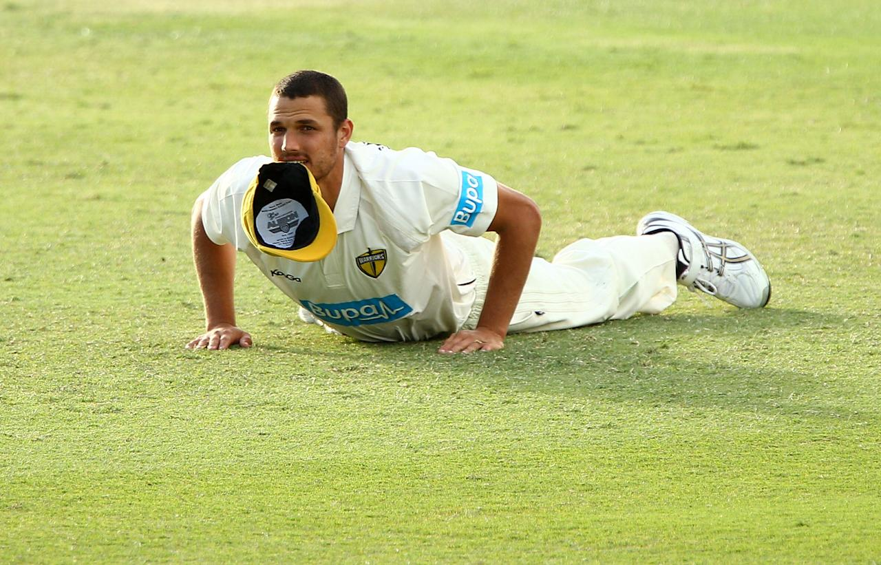 PERTH, AUSTRALIA - SEPTEMBER 20: Nathan Coulter-Nile of the Warriors looks on during day three of the Sheffield Shield match between the Western Australia Warriors and the New South Wales Blues at WACA on September 20, 2012 in Perth, Australia.  (Photo by Paul Kane/Getty Images)