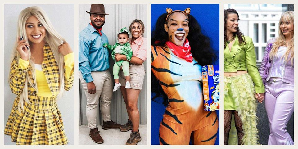 """<p>There's just something about the '90s that leaves you wanting more, and Halloween is the perfect excuse to hop in a time machine and channel some of the decade's most iconic people, characters, and fads.</p><p>Whether you plan to fly solo in a <a href=""""https://www.oprahdaily.com/life/g33547559/diy-halloween-costumes-for-women/"""" rel=""""nofollow noopener"""" target=""""_blank"""" data-ylk=""""slk:great costume for women"""" class=""""link rapid-noclick-resp"""">great costume for women</a>, <a href=""""https://www.oprahdaily.com/life/g27868801/funny-halloween-costumes-for-couples/"""" rel=""""nofollow noopener"""" target=""""_blank"""" data-ylk=""""slk:couple up"""" class=""""link rapid-noclick-resp"""">couple up</a>, or partner with your pals, there's something for everyone. Teachers seeking <a href=""""https://www.oprahdaily.com/life/g33224975/book-character-costumes/"""" rel=""""nofollow noopener"""" target=""""_blank"""" data-ylk=""""slk:beloved storybook inspo"""" class=""""link rapid-noclick-resp"""">beloved storybook inspo</a> will love the idea of taking a ride on <em>The Magic School Bus </em>in a DIY Ms. Frizzle costume, while parents will be tickled to see their newest bundle of joy dressed in a fuzzy Beanie Baby getup. </p><p>Of course, there are also plenty of <a href=""""https://www.oprahdaily.com/life/g27868790/best-friend-halloween-costumes/"""" rel=""""nofollow noopener"""" target=""""_blank"""" data-ylk=""""slk:costumes suited for best friends"""" class=""""link rapid-noclick-resp"""">costumes suited for best friends</a>, like a group of mighty Power Rangers or Mary Kate and Ashley Olsen. Or, grab your partner and go as a famous couple—think Ace Ventura and his love interest Melissa Robinson or sweethearts Doug Funnie and Patti Mayonnaise. </p><p>Don't worry if you're here for a <a href=""""https://www.oprahdaily.com/style/g22699089/last-minute-halloween-costume-ideas/"""" rel=""""nofollow noopener"""" target=""""_blank"""" data-ylk=""""slk:last-minute costume"""" class=""""link rapid-noclick-resp"""">last-minute costume</a>, either and don't have time for an <a href=""""https://www.oprahdai"""