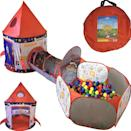 <p>This <span>Rocket Ship Play Tent, Tunnel, and Ball Pit With Basketball Hoop</span> ($42, originally $70) has it all!</p>
