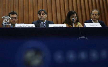 (L-R) Members of the Inter-American Human Rights Commission (CIDH) Alejandro Valencia, Francisco Cox, Claudia Paz and Carlos Beristain attend a news conference in Mexico City, August 17, 2015. REUTERS/Henry Romero