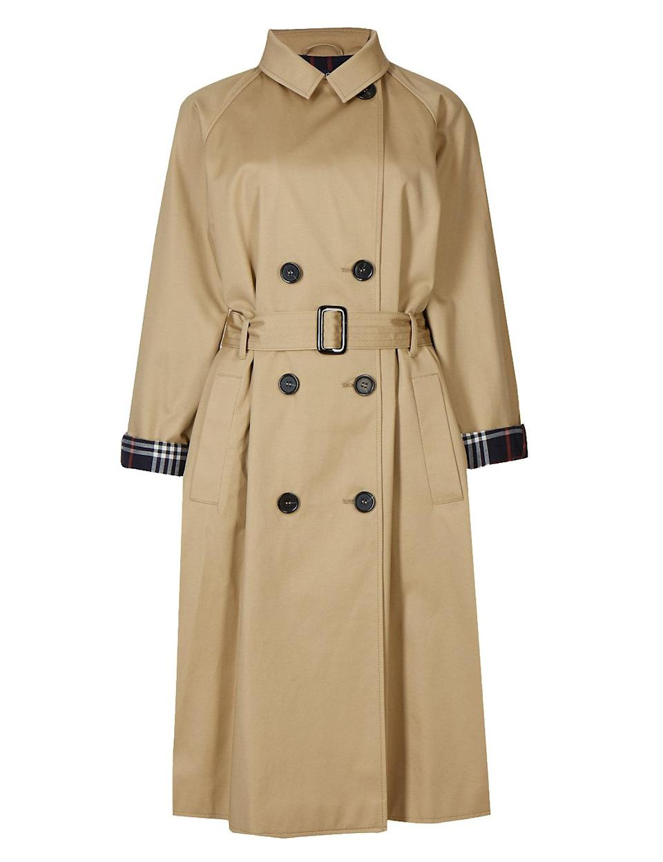 """<p>You're looking at the most sought after trench of the season. We'll be teaming ours with a navy polo neck, raw-hem jeans and patent ankle boots. Bring on the rain!<br><br><em><a rel=""""nofollow noopener"""" href=""""http://www.marksandspencer.com/pure-cotton-trench-coat-with-stormwear/p/p60100750?image=sd_01_t49_3311_sp_x_ec_90&color=sandstone&prevpage=plp&pdpredirect&source=affwindow&extid=af_a_Content_73846_Telegraph.co.uk&comgp=73846&cvosrc=affiliate.aw.73846&awc=1402_1505383125_b96ba7152c107c242398563ffa1e780e"""" target=""""_blank"""" data-ylk=""""slk:Marks and Spencer"""" class=""""link rapid-noclick-resp"""">Marks and Spencer</a>, £79</em> </p>"""