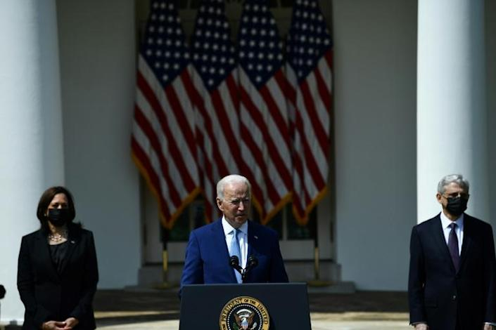 US President Joe Biden, with Vice President Kamala Harris and Attorney General Merrick Garland, speaks about gun violence prevention