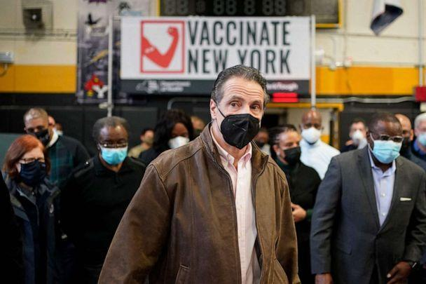 PHOTO: New York Governor Andrew Cuomo arrives to a vaccination site in Brooklyn, New York, Feb. 22, 2021. (Seth Wenig/AFP via Getty Images, FILE)