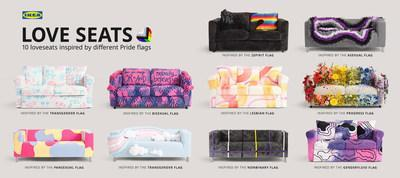 IKEA Love Seats inspired by the colours of different Pride flags (CNW Group/IKEA Canada)