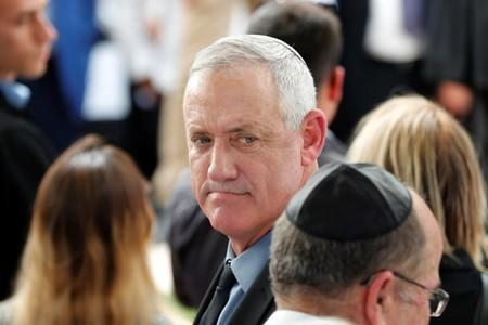 Benny Gantz, leader of Blue and White party, looks on as he arrives to attend a memorial ceremony for late Israeli President Shimon Peres, at Mount Herzl in Jerusalem