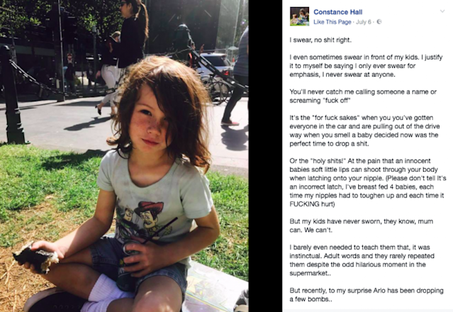 Constance Hall has taken to Facebook to explain why she's not bothered about her son's swearing. (Photo: Constance Hall via Facebook)