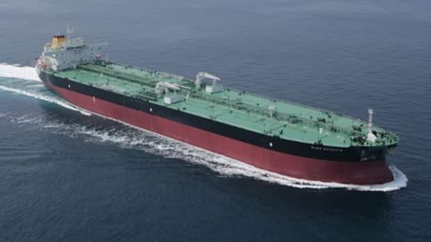The crude oil tanker Mare Picenum, which is owned by Fratelli d'Amico Armatori, is anchored about three nautical miles off the coast of Saint John with 24 crew on board, five of whom have tested positive for COVID-19. A sixth positive case is isolating ashore in a hotel. (Fratelli d'Amico Armatori - image credit)