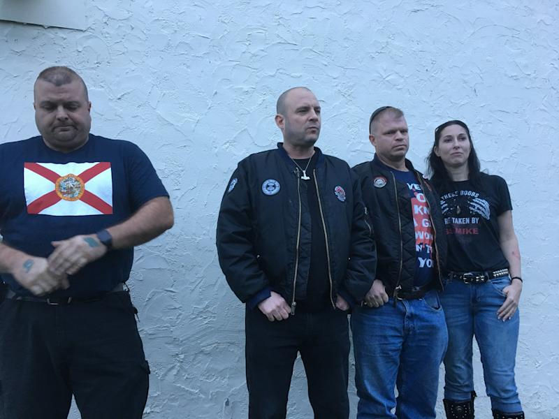 Jeff Schoep, second from the left, is head of the National Socialist Movement, a neo-Nazi group. He and three other NSM members met HuffPost outside their hotel in the Nashville area. (Christopher Mathias/HuffPost)