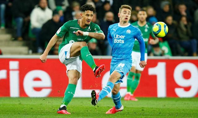 "<span class=""element-image__caption"">William Saliba (left) in action for Saint-Étienne against Marseille in February.</span> <span class=""element-image__credit"">Photograph: Emmanuel Foudrot/Reuters</span>"