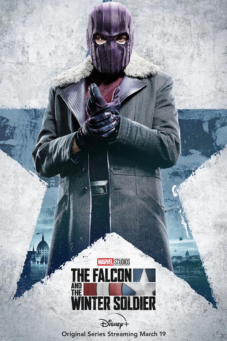 Daniel Brühl as Zemo in character posters for Marvel Studios' Disney+ series, The Falcon And The Winter Soldier.