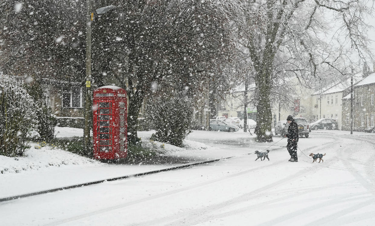"""Temperatures could reach as low as -14C with """"snow event after snow event"""" expected to hit parts of the UK from as early as later on this month. Shown here, heavy snow in Allendale, northern England. (AP)"""