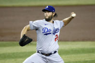 Los Angeles Dodgers starting pitcher Clayton Kershaw throws against the Arizona Diamondbacks during the first inning of a baseball game Sunday, Aug. 2, 2020, in Phoenix. (AP Photo/Ross D. Franklin)