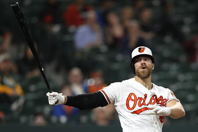 Baltimore Orioles first baseman Chris Davis set an unfortunate MLB record on Monday night. (Getty Images)