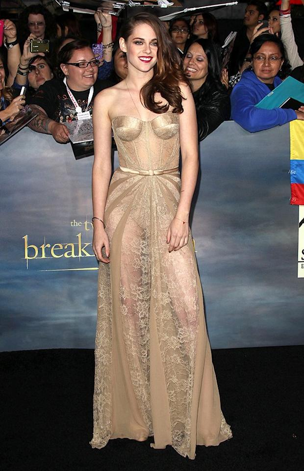 "We can't talk ""Breaking Dawn - Part 2"" premiere fashion without mentioning the awesomeness of KStew's engaging ensemble. Wearing a corseted Zuhair Murad dress was a massive risk, but the 22-year-old's gamble more than paid off ... as did her impeccably-dyed, side-swept mane. Va-va-voom! (11/12/2012)"