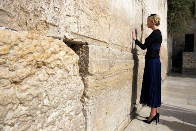 Ivanka Trump prays as she touches the Western Wall, Judaism's holiest prayer site, in Jerusalem's Old City May 22, 2017. (Photo: Reuters/Heidi Levine/Pool)