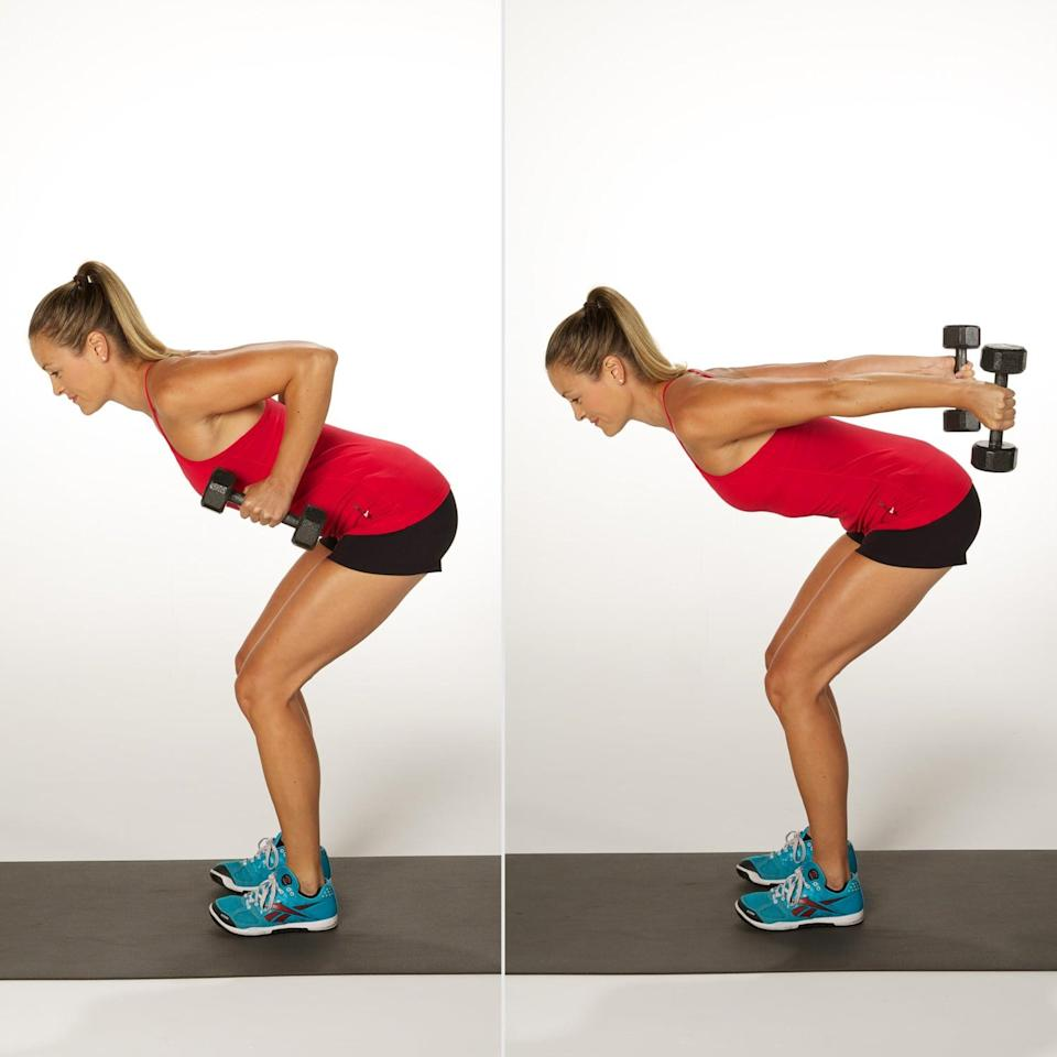 <p>MacKellar recommended rows as a way to target multiple muscles in the back of your body, plus core stability and strength, while kickbacks work your triceps and biceps. You're getting the best of both of these key moves.</p> <ul> <li>Stand with your feet hip-distance apart, holding a dumbbell in each hand at the sides of your body. Tilt your torso forward while keeping your back flat and core pulled in. Bend both knees.</li> <li>Extend your arms in front of you, bringing the dumbbells directly beneath your shoulders. Keep your core tight and back flat, not allowing your shoulders to hunch forward.</li> <li>Bend your elbows and pull them behind your back, raising the dumbbells toward the sides of your ribs. Squeeze your shoulder blades together and be sure to keep your elbows in and pointed upward. Avoid arching your back.</li> <li>Straighten your arms behind you with your palms facing in, extending your arms until they're parallel to the floor.</li> <li>Squeeze your triceps, then bend your elbows to return the weights to your chest.</li> <li>Lower your weights and extend your arms to return to the starting position. </li> <li>This counts as one rep.</li> </ul>