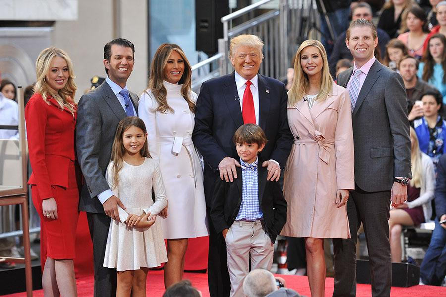 <p>Tiffany Trump, Donald Trump Jr., Kai Trump, Tristan Trump, Ivanka Trump, Eric Trump, and Melania Trump were on hand at Rockefeller Center in New York City to support Donald Trump. Republican presidential candidate Donald Trump, pose onstage during NBC's Today Trump Town Hall at Rockefeller Plaza on April 21, 2016 in New York City. (Photo: Getty Images) </p>