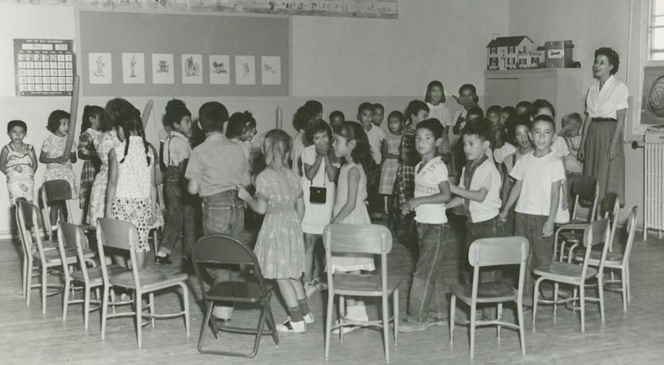 Students at the Blackwell School play a game in Mrs. Mildred Shannon's class in 1959.