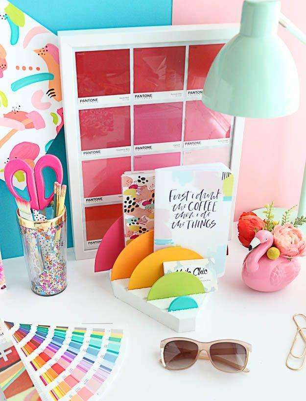 """<p>Not only does this desk organizer keep papers sorted, it reminds you of the ROYGBIV if you make it large enough. (You can use one for your office desk, too.)</p><p><em><a href=""""https://akailochiclife.com/2017/08/diy-it-rainbow-desk-organizer.html"""" rel=""""nofollow noopener"""" target=""""_blank"""" data-ylk=""""slk:Get the tutorial at a Kailo Chic Life »"""" class=""""link rapid-noclick-resp"""">Get the tutorial at a Kailo Chic Life »</a> </em></p>"""