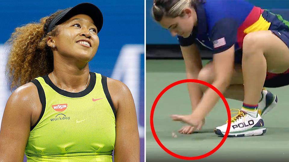 Pictured here, Naomi Osaka's first round match was interrupted by a moth at the US Open.