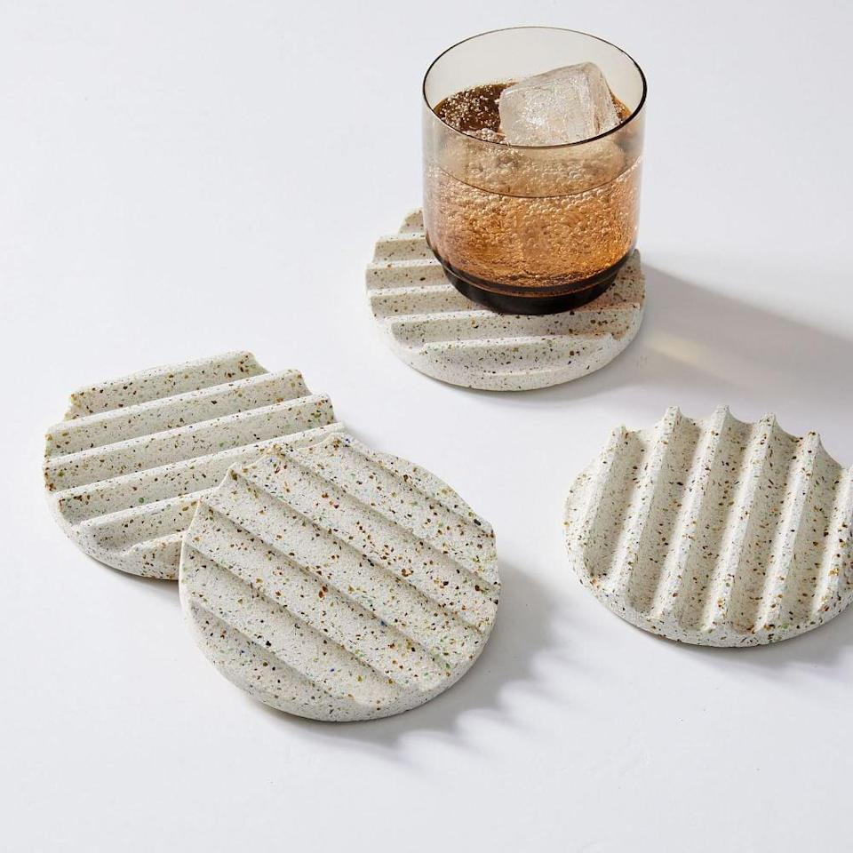 <p>Having the right coasters is always a must. We're firm believers that the cuter they are, the more you'll use them and prevent rings on your table. These pretty <span>Pretti.Cool Terrazzo Coasters</span> ($58) are at the top of our wish lists right now.</p>