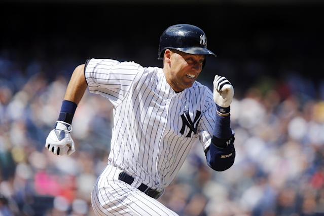 New York Yankees' Derek Jeter runs to first base after hitting a single during the sixth inning of a baseball game against the Cleveland Indians, Saturday, Aug. 9, 2014, in New York. The hit was number 3,431 for Jeter, moving him past Honus Wagner for sixth place on the all-time career hit list. (AP Photo/Jason DeCrow)