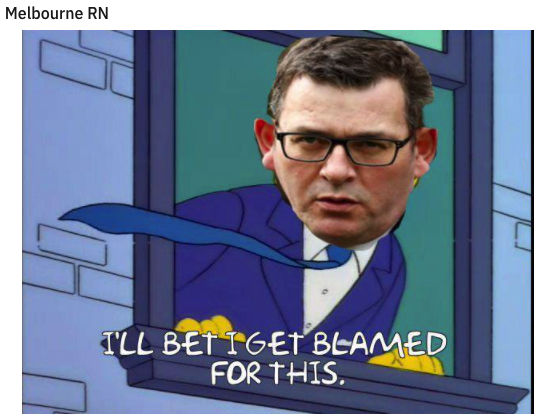 Daniel Andrews face as Principal Skinner from the The Simpsons hanging out a window