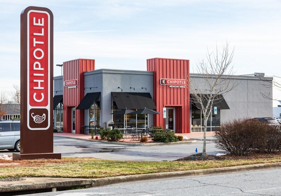 the exterior and sign outside of a Chipotle restaurant in Hickory, North Carolina