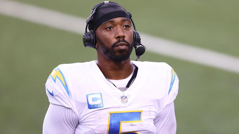 Pictured here, Chargers quarterback Tyrod Taylor missed the Chiefs clash after suffering a punctured lung.