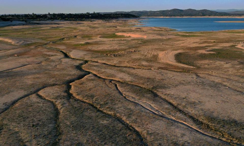 Low water levels at Folsom Lake yesterday in Granite Bay, California.
