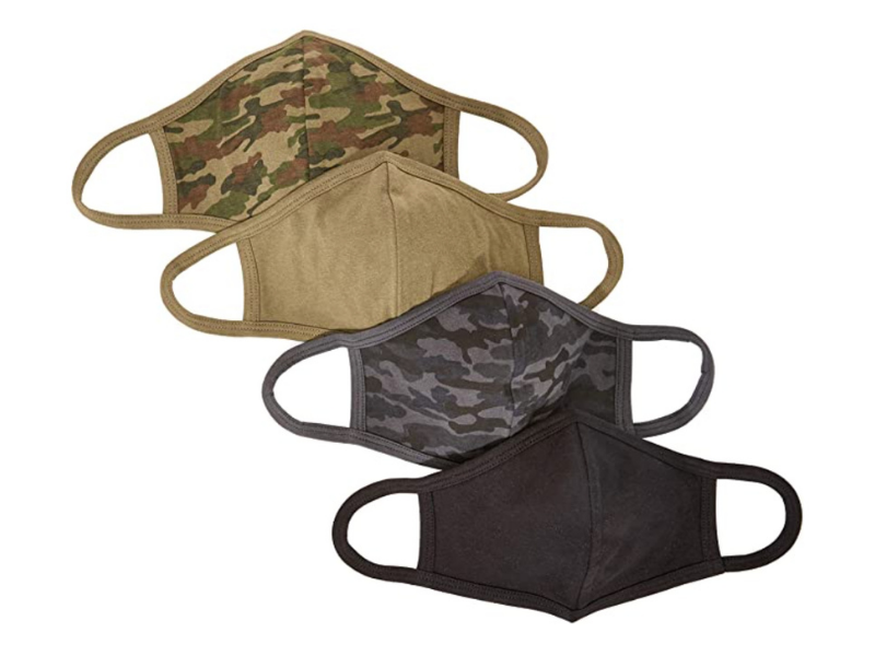 Quality Durables Adults and Kids Four-Pack Reusable Face Covering in Black Camo/Black/Olive Camo/Olive. (Photo: Amazon)
