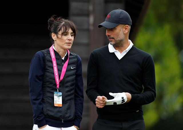 Golf - European Tour - BMW PGA Championship - Wentworth Club, Virginia Water, Britain - May 23, 2018 Manchester City manager Pep Guardiola and wife Cristina Serra during the pro-am Action Images via Reuters/Paul Childs