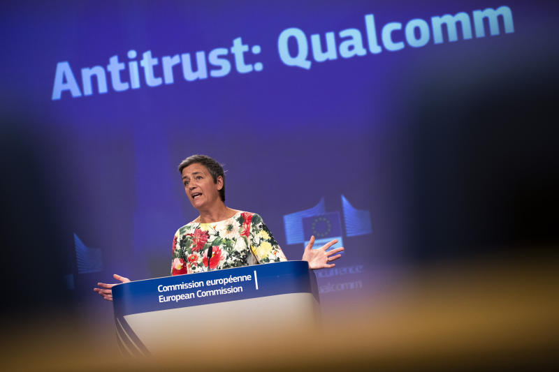 "European Antitrust Commissioner Margrethe Vestager talks to journalists during a news conference at the European Commission headquarters in Brussels, Thursday, July 18, 2019. The European Union has fined U.S. chipmaker Qualcomm $271 million, accusing it of ""predatory pricing"". (AP Photo/Francisco Seco)"