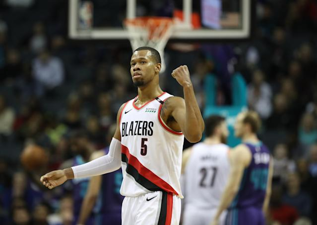 CHARLOTTE, NORTH CAROLINA - MARCH 03: Rodney Hood #5 of the Portland Trail Blazers reacts after a play against the Charlotte Hornets during their game at Spectrum Center on March 03, 2019 in Charlotte, North Carolina. (Photo by Streeter Lecka/Getty Images)