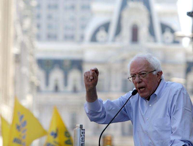 Sen. Bernie Sanders (I-Vt.) addresses a rally of union workers fighting the closure of a Philadelphia hospital on Monday. Support for unions is a hallmark of his campaign. (Photo: Jacqueline Larma/ASSOCIATED PRESS)