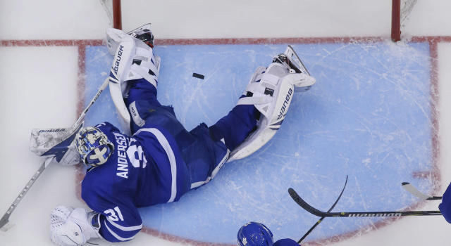 Frederik Andersen had an eventful Game 3 for the Maple Leafs. (Rick Madonik/Toronto Star via Getty Images)