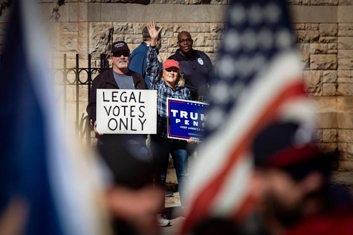 ATLANTA, GA - NOVEMBER 18: Trump supporters attend the Stop the Steal rally at the Georgia Capitol Building on Wednesday, Nov. 18, 2020 in Atlanta, GA. (Jason Armond / Los Angeles Times)