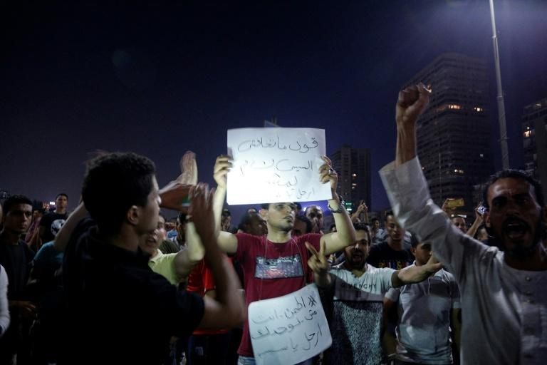Protesters, similar to the ones pictured in Cairo on September 20, 2019, gathered in cities across Egypt calling for the removal of President Abdel Fattah al-Sisi