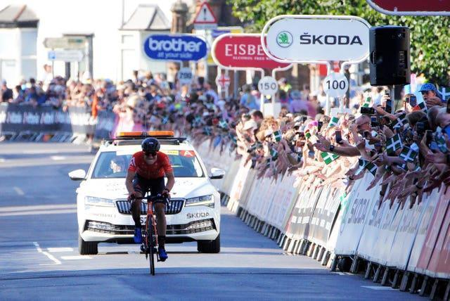 Robin Carpenter on the way to winning stage two of the Tour of Britain