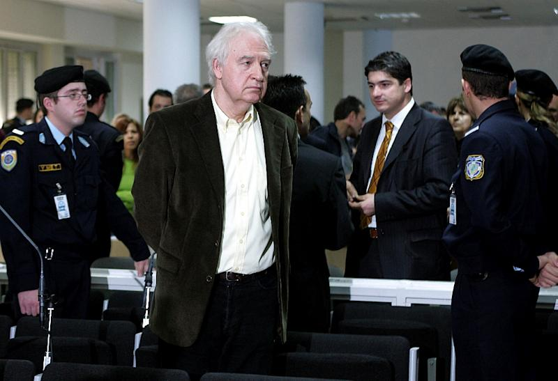 Alexander Giotopoulos, convicted former head of Greece's deadly November 17 terrorist group, is pictured at trial in Athens on December 2, 2005