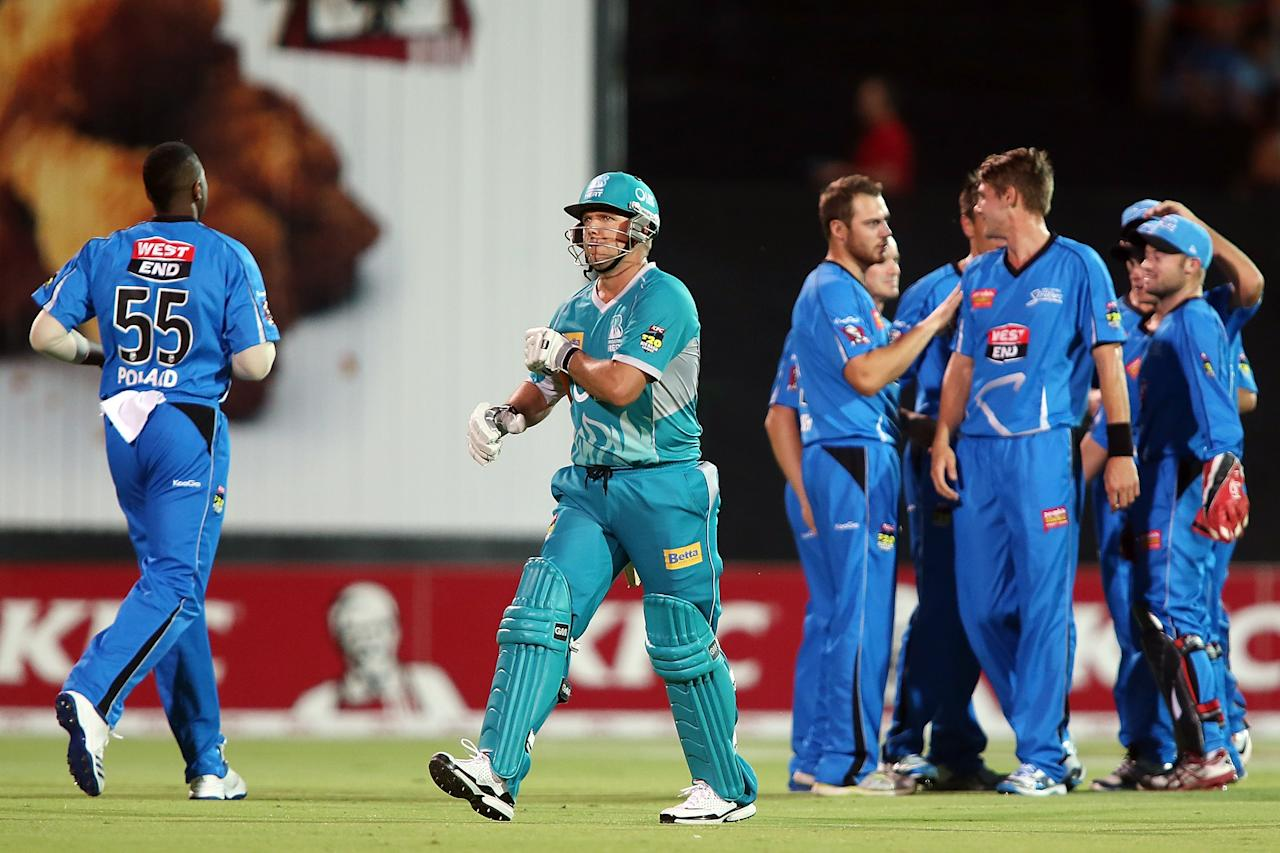ADELAIDE, AUSTRALIA - DECEMBER 13: James Hopes of the Heat leaves the field after getting out during the Big Bash League match between the Adelaide Strikers and the Brisbane Heat at Adelaide Oval on December 13, 2012 in Adelaide, Australia.  (Photo by Morne de Klerk/Getty Images)