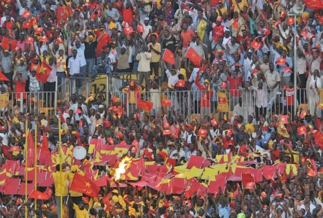 Sudan's al-Merrikh club fans gather to watch their team play during their CAF Confederation Cup semi-final football match at the Merreikh Stadium in the Sudanese capital Khartoum, on November 10, 2012