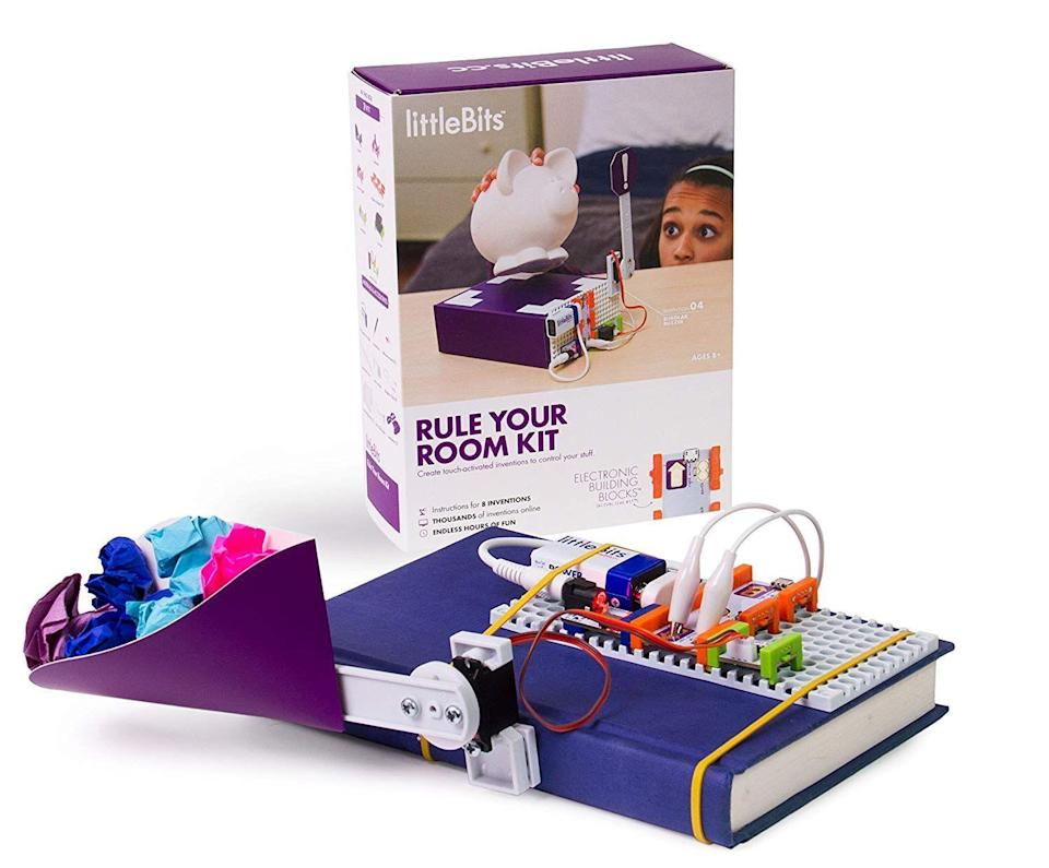 """<p><strong>littleBits</strong></p><p>blacktoystore.com</p><p><strong>$87.71</strong></p><p><a href=""""https://blacktoystore.com/product/rule-your-room-kit/"""" rel=""""nofollow noopener"""" target=""""_blank"""" data-ylk=""""slk:Shop Now"""" class=""""link rapid-noclick-resp"""">Shop Now</a></p><p>If you ever caught your 9-year-old trying to make a DIY booby trap for his room, this is the kit he needs. The kit comes with pieces that'll ket them build an electronic buzzer for their precious stuff, a eyeball-shaped sensor that glows green when it hears noise, an alarm that flings stuff at intruders and other projects that involve <strong>circuitry, engineering and design thinking</strong>. <em>Ages 8+</em></p>"""