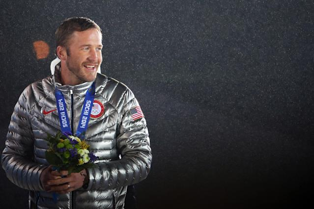 SOCHI, RUSSIA - FEBRUARY 16: Joint bronze medalist Bode Miller of the United States celebrates on the podium during the medal ceremony for the Men's Super-G Alpine Skiing on day 9 of the Sochi 2014 Winter Olympics at Medals Plaza on February 16, 2014 in Sochi, Russia. (Photo by Quinn Rooney/Getty Images)