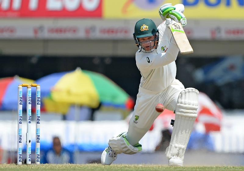 Australia's Peter Handscomb bats during the fifth day of the third Test against India in Ranchi on March 20, 2017