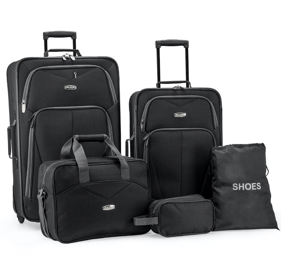 five piece black luggage set