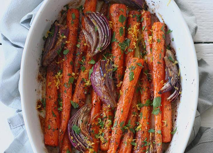 """<h2>18. Whole Roasted Carrots</h2> <p>Looking for a simple yet elegant side dish with a ton of flavor? Look no further.</p> <p><a class=""""link rapid-noclick-resp"""" href=""""https://www.purewow.com/food/dairy-free-holiday-recipes"""" rel=""""nofollow noopener"""" target=""""_blank"""" data-ylk=""""slk:Get the recipe"""">Get the recipe</a></p>"""