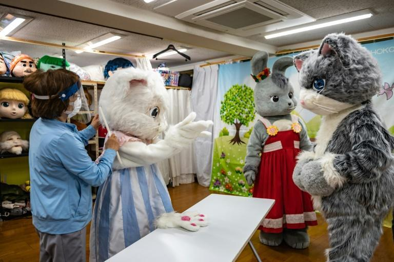 Mascots in training: Choko Ohira teaches her students during a mascot acting class in Tokyo